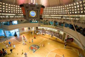 Overhead view of the Naismith Memorial Basketball Hall of Fame