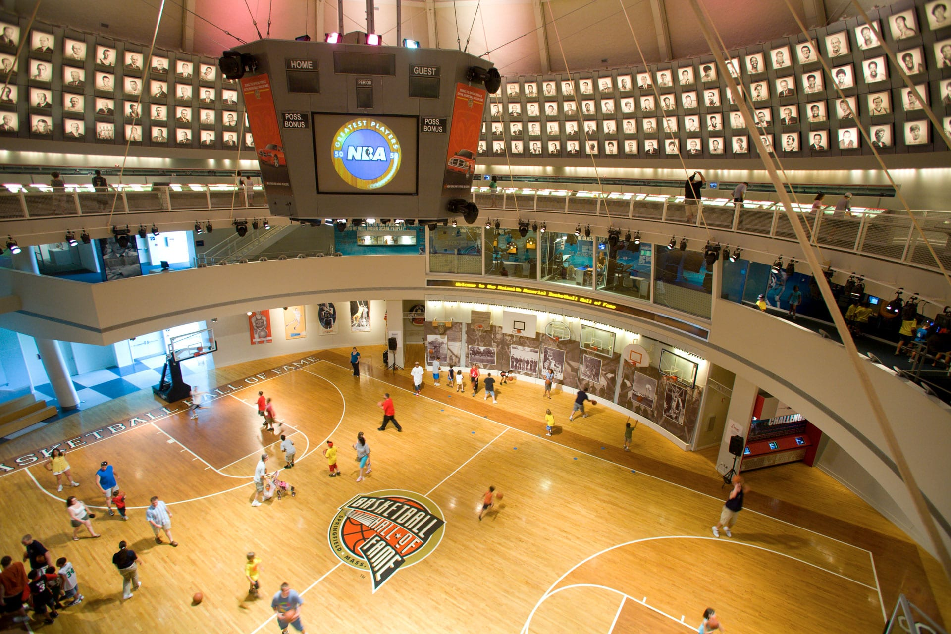 Overhead view of the Naismith Memorial Basketball Hall of Fame