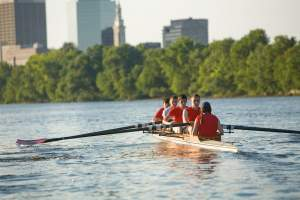 Rowing team on the river