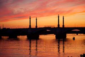 Memorial Bridge at sunset in Springfield, MA