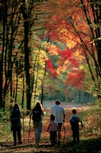 Family hiking through some Autumn trees