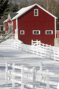 The Red Barn, in snow, at Hampshire College