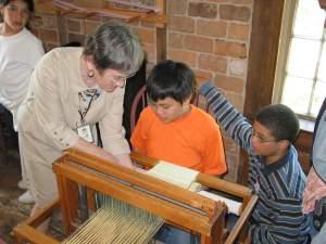 weaving demonstration historic deerfield