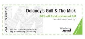 coupon book delaneys grill