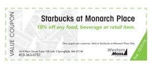 coupon book starbucks monarch place