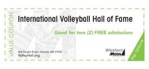 coupon book volleyball hall