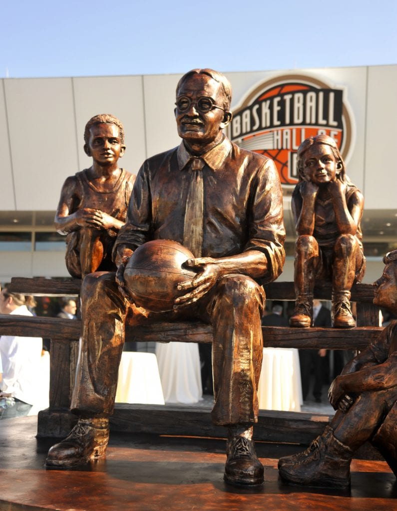naismith statue at basketball hall of fame