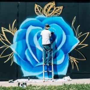blue flower mural